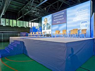Decorado presentación candidato eleccciones