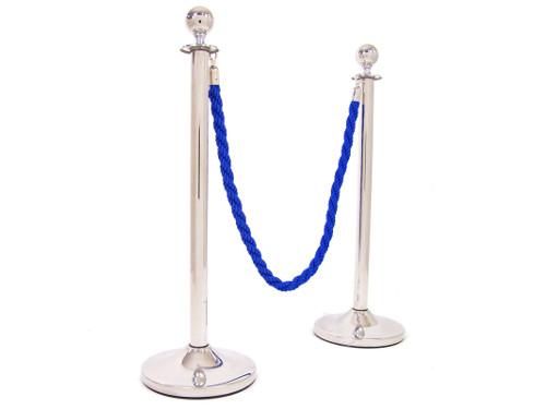Alquiler de catenarias plateadas con cordón trenzado azul