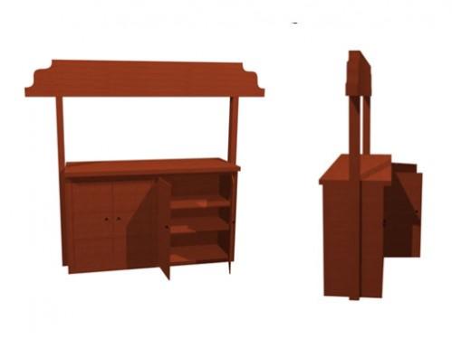 Alquiler  mostrador rústico madera vistas trasera y lateral 3d