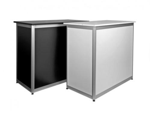 Mostrador modular de aluminio y melamina
