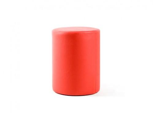 Alquiler de puff redondo rojo en polipiel alto 50 diámetro 40
