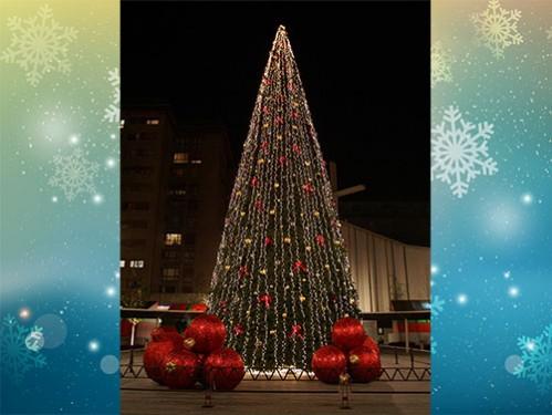 alquiler de rboles de navidad de metros decorado con luce led bolas clsicas doradas