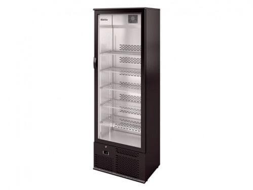 Alquiler de vitrinas verticales refrigeradas en color negro para eventos gastronómicos